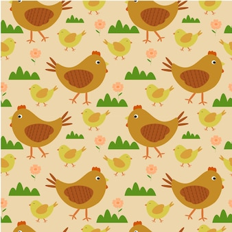 鶏と鶏を歩くシームレスなパターン