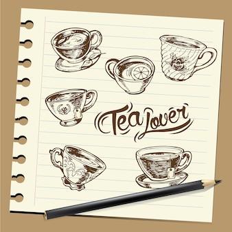 お茶、手描き
