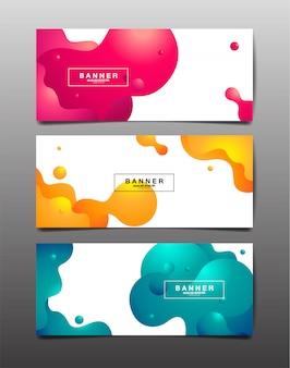 Набор абстрактного фона, жидкости, жидкости, текстуры дизайна, шаблон макета