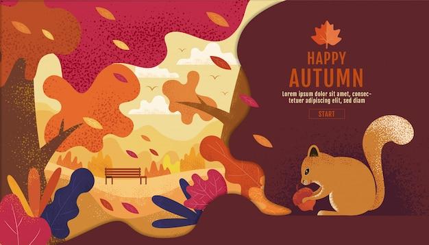 幸せな感謝祭、秋の庭。、図面、漫画、風景