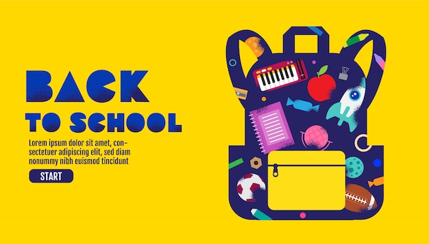 学校販売バナー、ポスター、デザインレイアウトのカラフルなイラストに戻る。