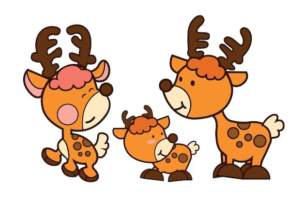 家族の鹿漫画のイラストベクターデザイン。