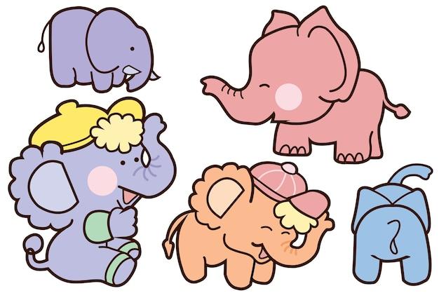 家族ゾウ漫画のイラストベクターデザイン。