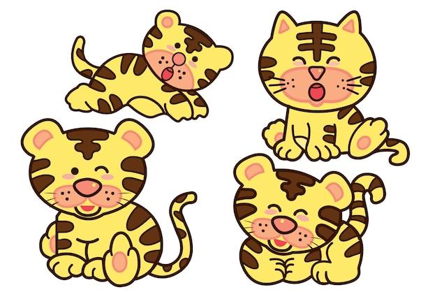 家族タイガー漫画のイラストベクターデザイン。