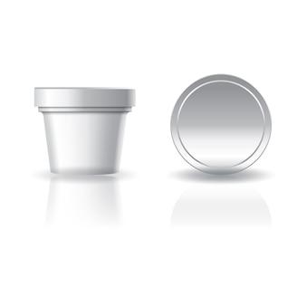 空白の白い化粧品または丸いカップの蓋。
