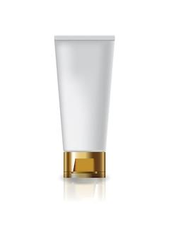 ゴールドキャップの蓋が付いた空白の化粧管。