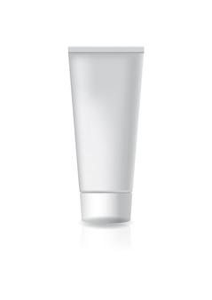 白いスクリューキャップ付きの白い化粧チューブ。