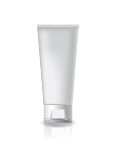 白いキャップのふたを付けた空白の化粧管。