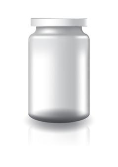 白い蓋の大きいサイズのブランククリアラウンドジャー。
