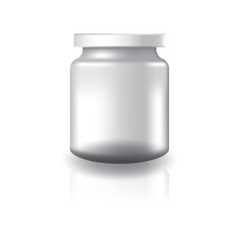 白い蓋付きの空の透明な丸い瓶。