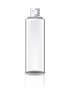 Пустая прозрачная квадратная косметическая бутылка с белой крышкой.