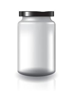黒い蓋の大きいサイズの空の透明な丸い瓶。