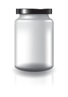 黒い蓋の中程度の大きさの空の透明な丸い瓶。