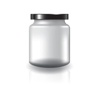 黒い蓋が付いた空の透明な丸い瓶。