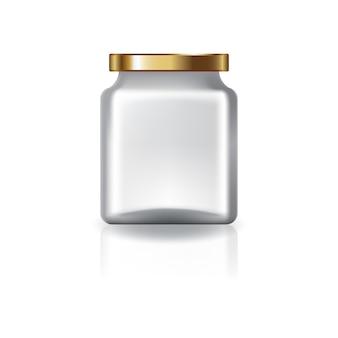 金の蓋が付いたブランクの透明な四角い瓶。