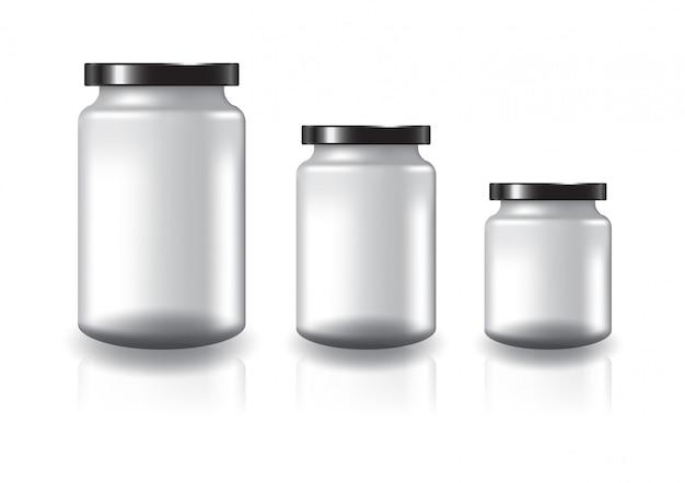 黒い平らなふたが付いている空白の明確な丸い瓶。
