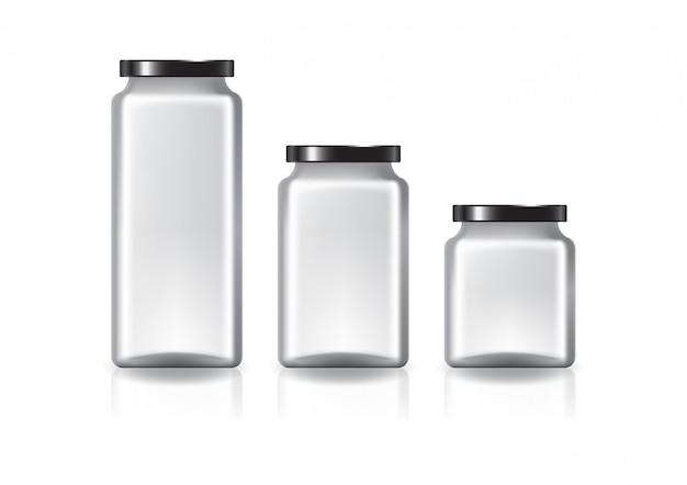 黒い平らなふたが付いている空白の明確な正方形の瓶。