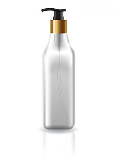 ポンプヘッドと空白の明確な正方形の化粧品ボトル。