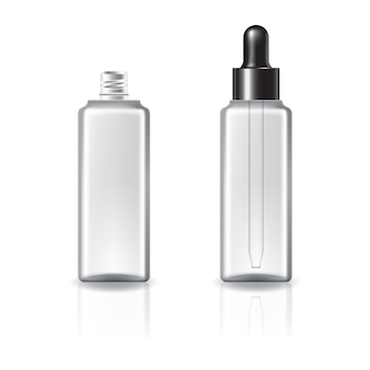 スポイトの蓋と黒いリングが付いた透明な正方形の化粧品ボトル。