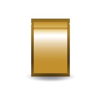 空白の金の両面フラットホイルジップロック式バッグ。
