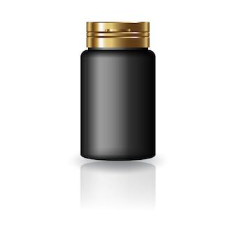 Черная лекарственная круглая бутылка с золотой крышкой.