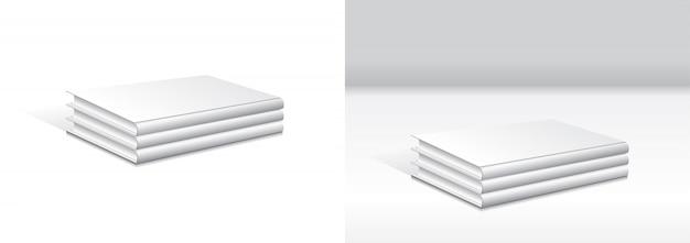 Набор укладки пустой белый переплет книги макет шаблона.