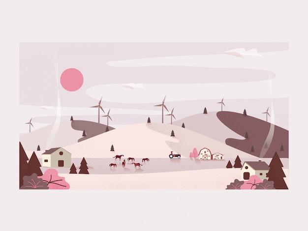 田舎の有機農場のベクトルイラスト。馬の牧場と風力タービン。
