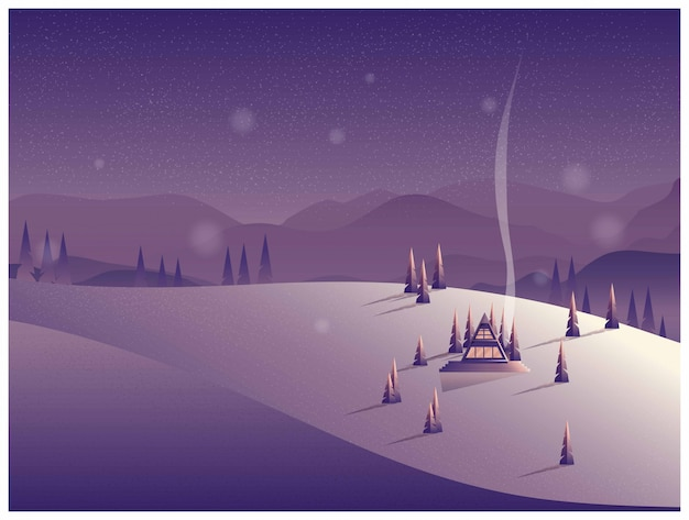 冬の山で孤独な小屋のベクトルイラスト。