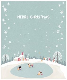 Векторная иллюстрация рождественской зимней пейзажной открытки в ретро мятно-зеленом цвете.