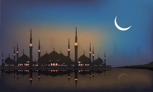 ラマダンの聖なる月。都市景観の夜背景