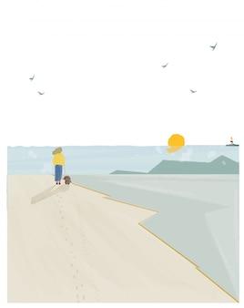 Векторная иллюстрация весной или летом пляж приморский пейзаж.