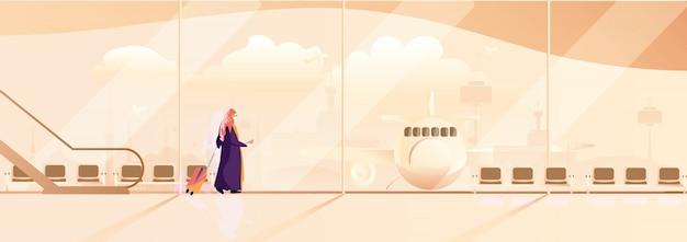 イスラム教徒の女性旅行のパノラマベクトルイラスト。ヒジャーブと伝統的な衣装で現代のイスラム教徒の女性は飛行機で一人で旅行します。