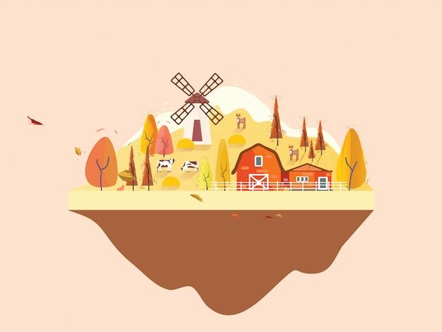 秋の田舎のファームビルのフラットなデザイン。最小限の秋の風景。