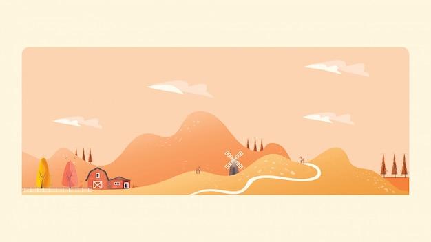 秋の田舎の風景のパノラマイラスト。黄色の葉の山やヒル
