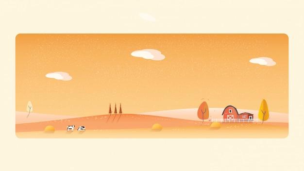 秋の田園風景のパノラマイラスト。黄色の葉の山や丘