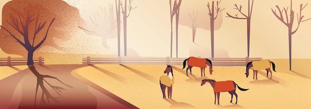 秋の田舎の風景のイラスト。
