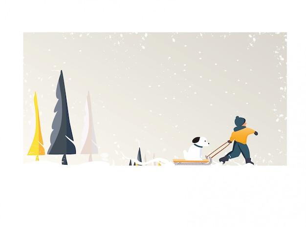 Милый минималистский вектор зимнего сезона. панорамный снежный зимний пейзаж со счастливым малышом тащит собаку на санях. сосна и белый снег с желтой листвой и лиственным лесом