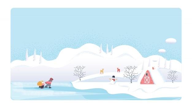 冬の季節のかわいいミニマリストのベクトル