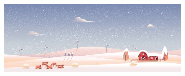 冬の田舎の風景の最小限のパノラマイラスト