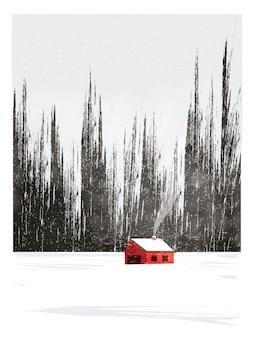 Минимальная иллюстрация сельской местности пейзаж зимой