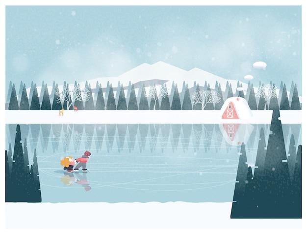 Милый минималист зимнего сезона зимний пейзаж со счастливым ребенком, играющим на ледяном озере