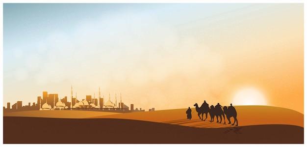 モスクのある砂漠をラクダが走るアラビアの旅のパノラマ風景、ラクダがいる旅人、砂丘、ほこりと夕暮れ。