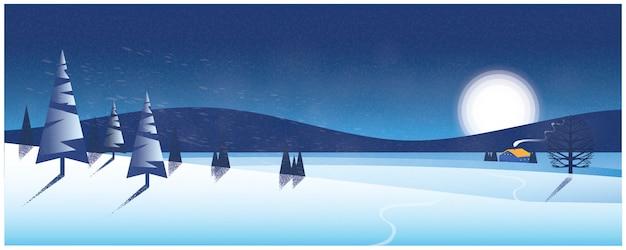 Панорамный зимний пейзаж, силуэт изображения одинокого дома в снегу