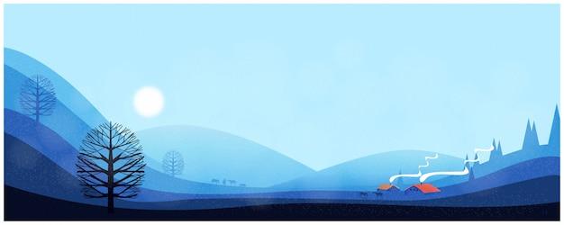 冬の風景のパノラマ