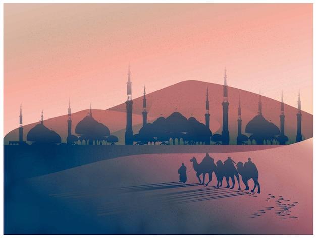 Векторный пейзаж арабского путешествия с верблюдами через пустыню с мечетью