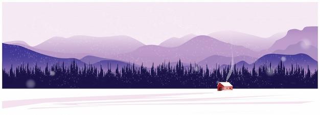 Природа зимний фон с горы.