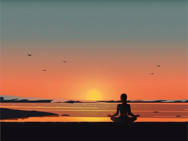 ビーチでの瞑想