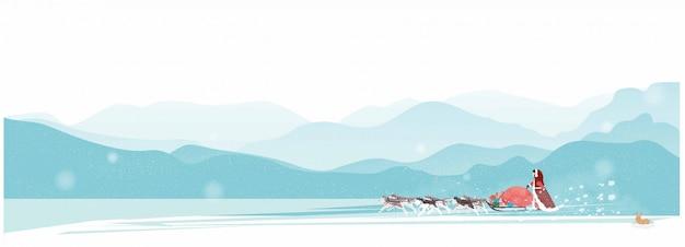 Жена деда мороза едет на собачьих упряжках