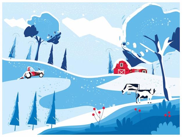 農場の家と田舎の風景
