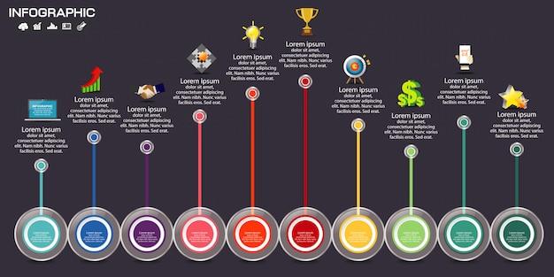Инфографики шаблон дизайна с иконками и опций.